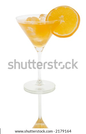 orange cocktail and reflection with slice of orange and icecubes isolated on white and clipping path included - stock photo