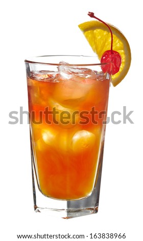 Orange cocktail decorated with slice of orange and cherry