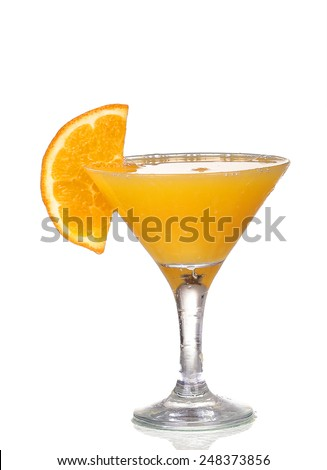 orange cocktail in a martini glass isolated on white background - stock photo