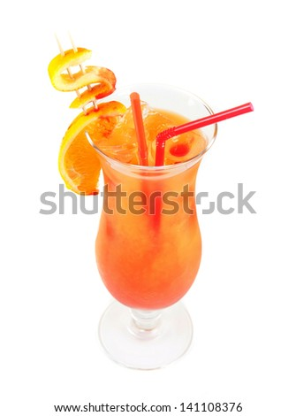 Orange cocktail with two tubes, peach, and orange - stock photo