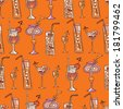 Orange cocktails seamless pattern. Raster version. - stock photo