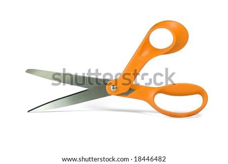 Orange color handle scissors isolated on white - stock photo