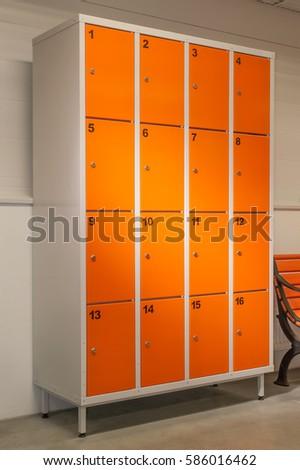 Orange Color Metal Closet With Lockers.