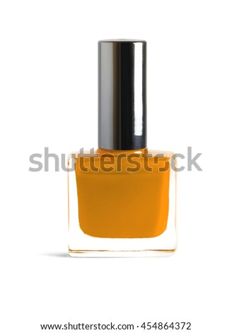 Orange color nail polish isolated on white background with clipping path