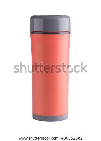 orange color thermos isolated on white background - stock photo