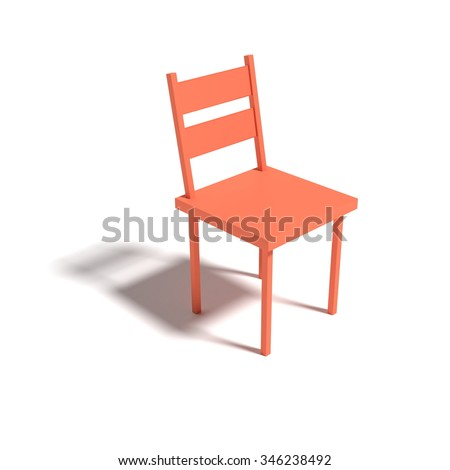 orange colored chair, isolated - rendered 3D-illustration - stock photo