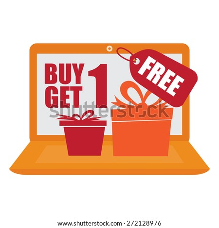 Orange Computer Laptop With Buy 1 Get 1 Free Banner, Sign, Icon or Label Isolated on White Background - stock photo