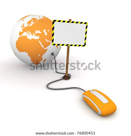 orange computer mouse is connected to a orange globe - surfing and browsing is blocked by a white rectangular sign that cuts the cable - empty template with yellow and black warning stripes - stock photo