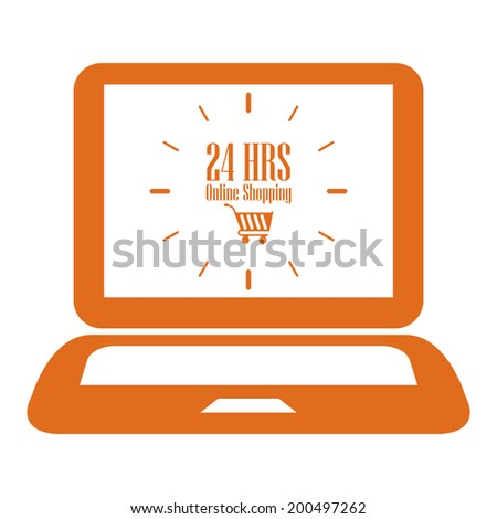 Orange Computer Notebook or Laptop With 24 HRS Online Shopping on Screen Icon or Label Isolated on White Background - stock photo
