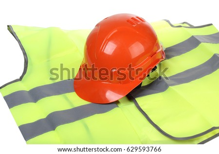Orange Construction Helmet And Vest