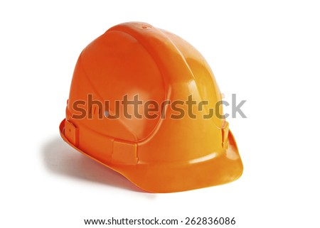orange construction helmet on a white background. - stock photo