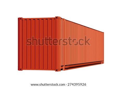Orange container for cargo transportation isolated on white background with path - stock photo