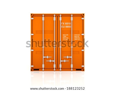 Orange container.isolated on white.3d rendered. - stock photo