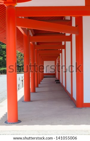 Orange corridor of inner wall main building for ceremonies Shishinden in the Imperial Palace in Kyoto, Japan - stock photo