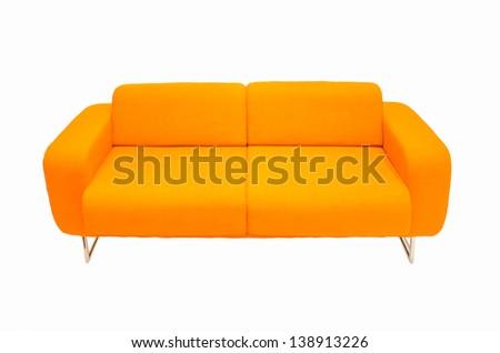 orange couch isolated - stock photo