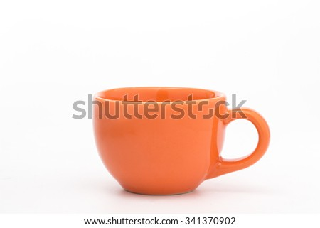 Orange Cup isolated on white background.