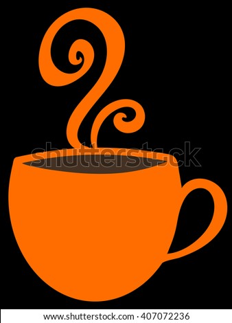 Orange cup with coffee tea, or hot chocolate and steam on black background. Bright mug with copy space.