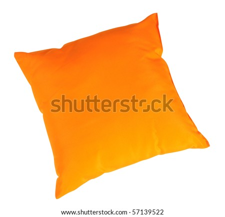 Orange cushion. Isolated - stock photo