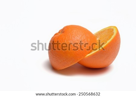 orange cut in half - stock photo