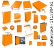 Orange 3d blank cover collection, isolated on white - stock photo
