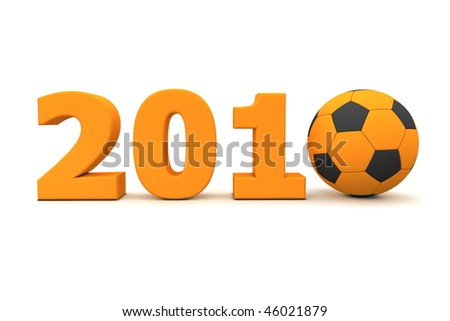 orange date 2010 with a football replacing number 0 - stock photo