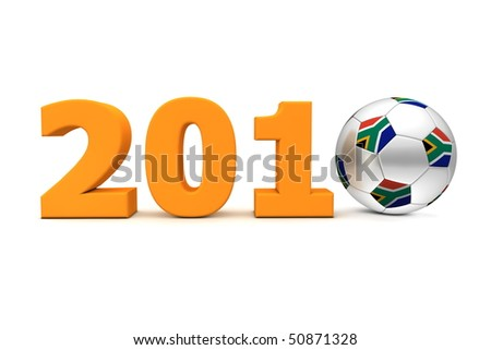 orange date 2010 with a football replacing number 0 - south african flag on the ball - stock photo
