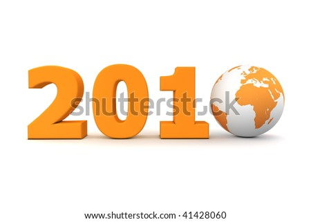 orange date 2010 with 3D globe replacing number 0 - stock photo