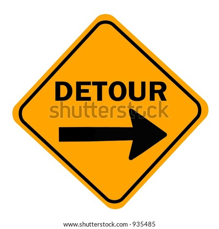 Orange Detour right sign isolated against a white background - stock photo