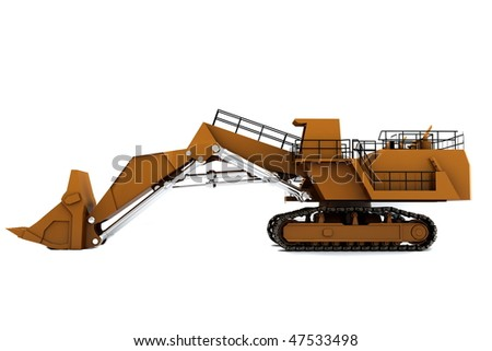 Orange dirty digger isolated on white background. Side view