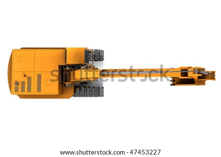 Orange dirty digger isolated on white background. Top view - stock photo