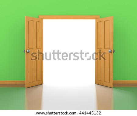 Orange door opening and green wall interior 3d rendering - stock photo