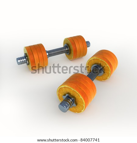 orange dumbbells - stock photo