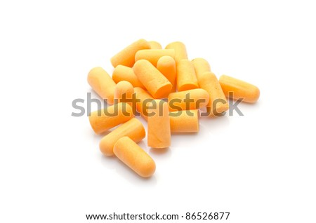 Orange ear plugs for ear protection isolated on white background - stock photo