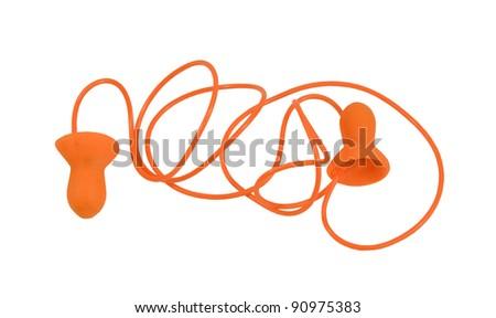 orange earplug to reduce noise on a white background - stock photo