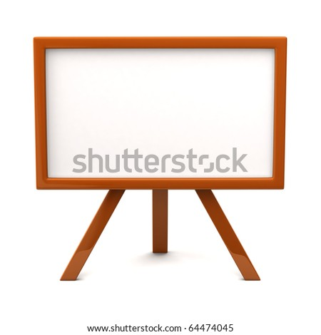 Orange easel with blank canvas