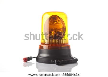 orange emergency light isolated on white - stock photo
