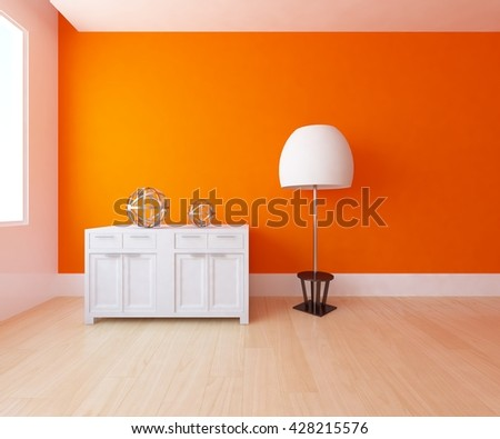orange empty interior with a dresser and a big white lamp. 3d illustration - stock photo