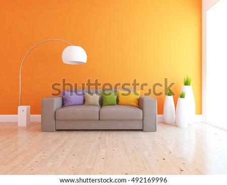 empty interior green wall vase stock illustration 107357126