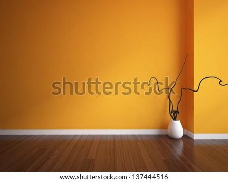orange empty interior with a white vase - stock photo