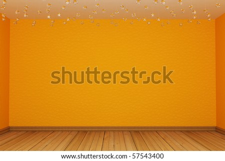 Orange empty room - stock photo
