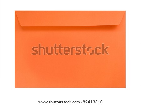 Orange envelope isolated on white - stock photo