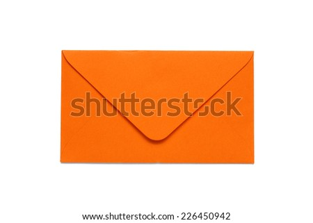 orange envelope on white background - stock photo