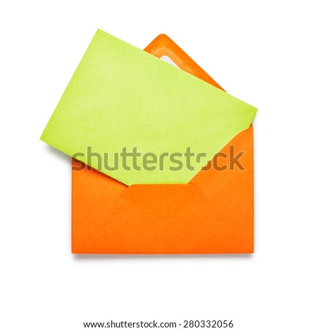 Orange envelope with green card isolated on white background. Object with clipping path
