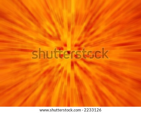 Orange exploding abstract image for backgrounds or wallpaper.