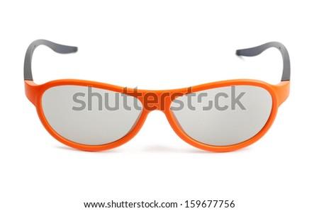 Orange eyeglasses isolated on white - stock photo