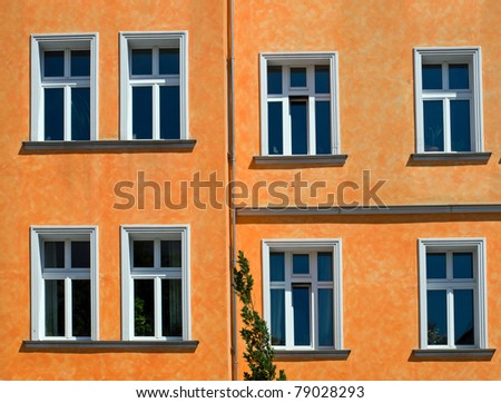 Orange facade of an apartment building