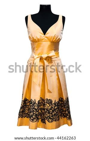orange female dress on a white background - stock photo