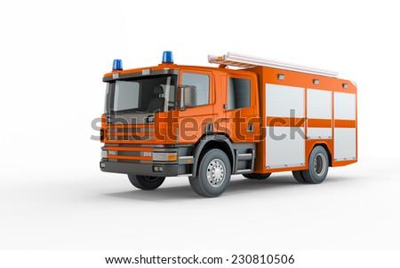 Orange Firetruck isolated on a white background - stock photo