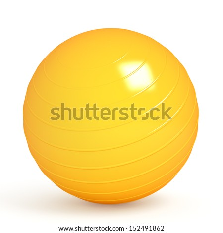 Orange fitness ball isolated on white. 3d render - stock photo