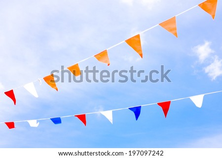 Orange flags, celebrating kingsday in the Netherlands - stock photo